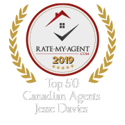 Top 50 Canadian Agent Badge for Jesse  Davies verified on 2020-01-24 by Rate-My-Agent.com
